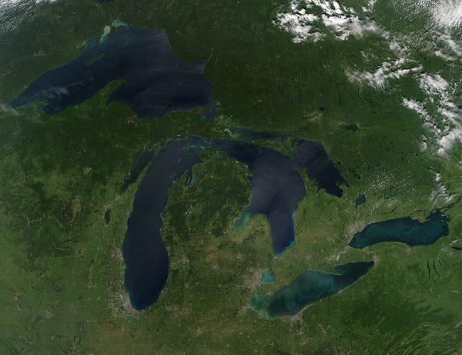 Satellitenaufnahme der Großen Seen in Nordamerika