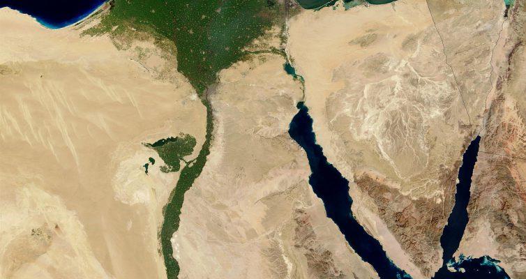 Satellitenaufnahme eines Flussdeltas