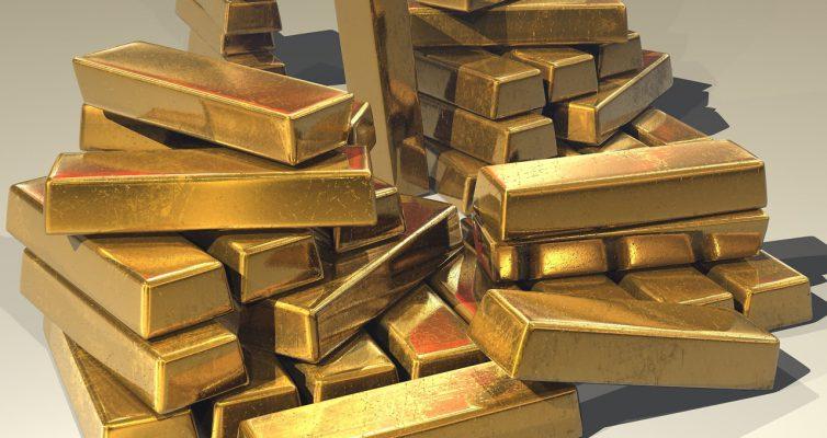 Ein Haufen unsortierter Goldbarren